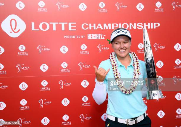 Brooke Henderson of Canada poses with the trophy after a four shot victory in the LPGA LOTTE Championship at the Ko Olina Golf Club on April 14 2018...