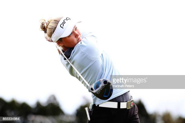 Brooke Henderson of Canada tees off during day two of the New Zealand Women's Open at Windross Farm on September 29 2017 in Auckland New Zealand