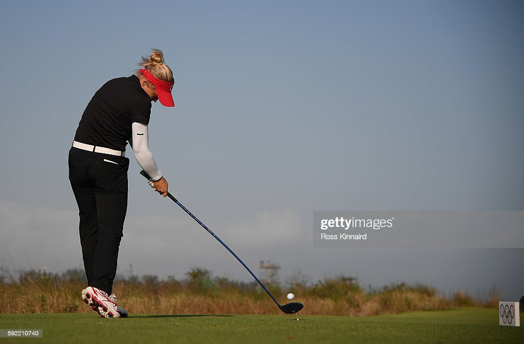 Brooke Henderson of Canada tees off on the 18th hole during the third round of the Women's Individual Stroke Play golf on day 14 of the Rio Olympics at the Olympic Golf Course on August 19, 2016 in Rio de Janeiro, Brazil.