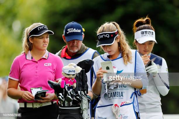 Brooke Henderson of Canada waits to hit on the 13th hole during the second round of the LPGA Cambia Portland Classic at Columbia Edgewater Country...