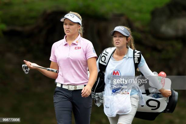 Brooke Henderson of Canada walks on the second hole during the third round of the Marathon LPGA Classic golf tournament at Highland Meadows Golf Club...