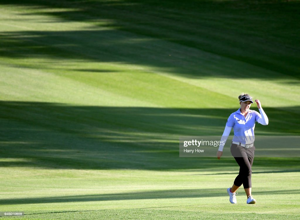 Brooke Henderson of Canada walks up the 17th fairway during the first round of the LPGA LOTTE Championship at the Ko Olina Golf Club on April 11, 2018 in Kapolei, Hawaii.