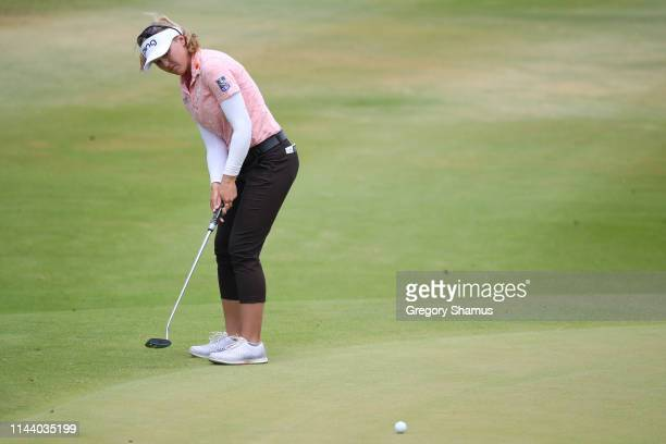 Brooke Henderson of Canada watches her eagle putt on the fifth green during the final round of the LOTTE Championship at Ko Olina Golf Club on April...