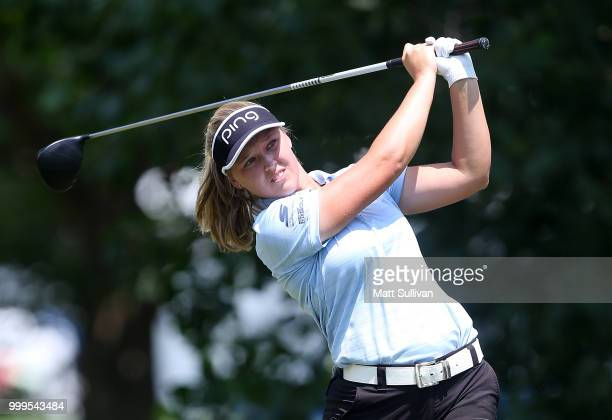 Brittany Lincicome watches her tee shot on the third hole during the final round of the Marathon Classic Presented By Owens Corning And OI at...