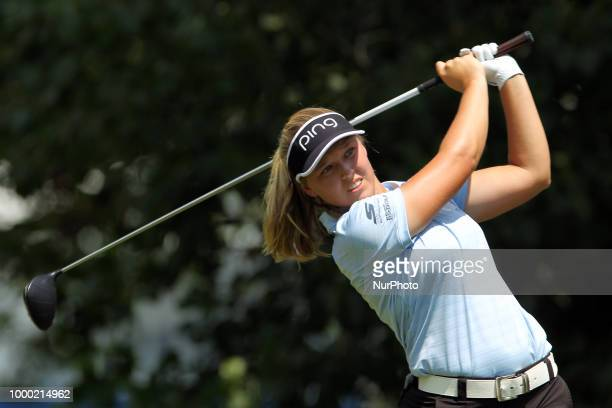 Brooke Henderson of Smith Falls Ontario hits from the 3rd tee during the final round of the Marathon LPGA Classic golf tournament at Highland Meadows...