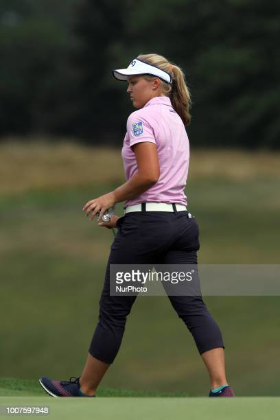 Brooke Henderson of Smith Falls Ontario perpares to putt on the 18th green during the third round of the Marathon LPGA Classic golf tournament at...