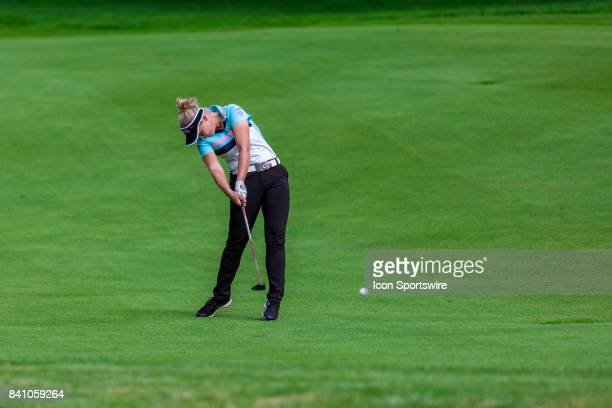 Brooke Henderson plays a shot on the fairway of the 9th hole during the final round of the Canadian Pacific Women's Open on August 27 2017 at The...