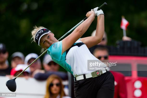 Brooke Henderson tees off on the 1st hole during the final round of the Canadian Pacific Women's Open on August 27 2017 at The Ottawa Hunt and Golf...