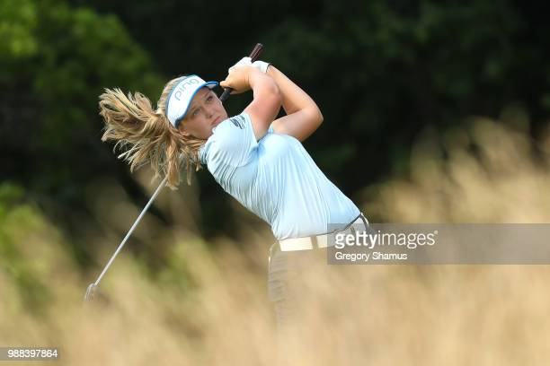 Brooke Henderson watches her drive on the 15th hole during the final round of the 2018 KPMG PGA Championship at Kemper Lakes Golf Club on June 30...