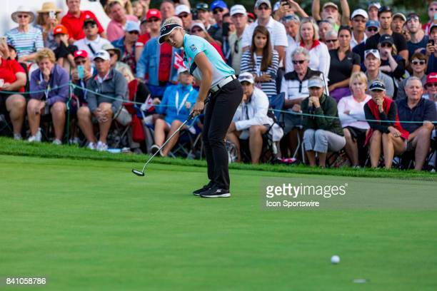 Brooke Henderson watches her putt on the green of the 18th hole during the final round of the Canadian Pacific Women's Open on August 27 2017 at The...