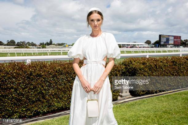 Brooke Hogan at Caulfield Racecourse on October 19, 2019 in Melbourne, Australia.