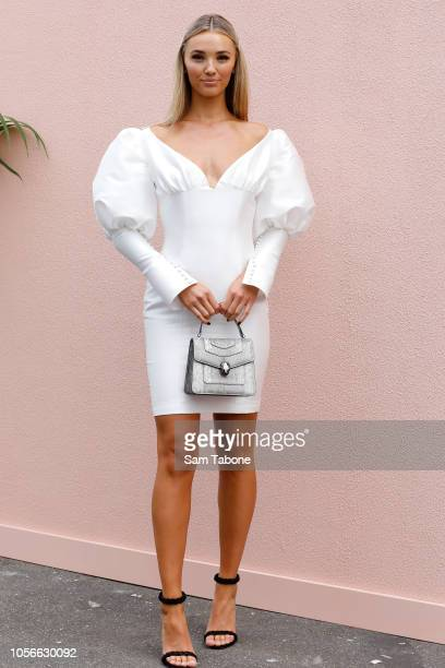 Brooke Hogan poses at the Bumble Marquee on Derby Day at Flemington Racecourse on November 3 2018 in Melbourne Australia