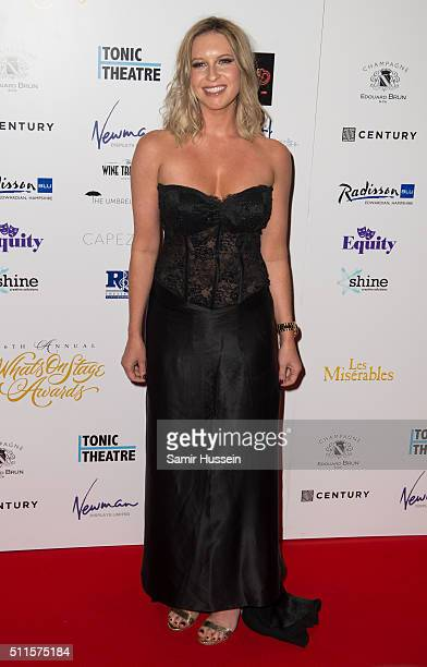Brooke Kinsella arrives for the WhatsOnStage Awards at Prince Of Wales Theatre on February 21 2016 in London England