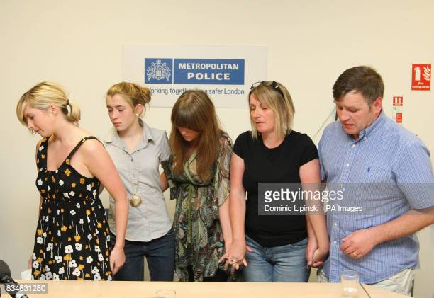 Brooke Kinsella with her sisters Georgia and Jade and parents Deborah and George at a press conference in Barking Essex