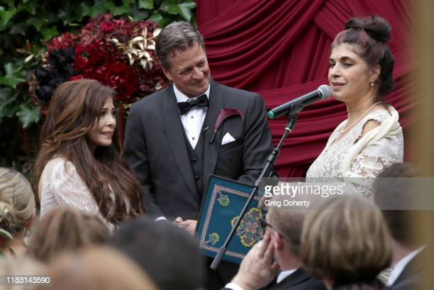 Brooke Lewis and Mark Bellas attend Brooke Mark's Marriage Soiree The Magic Of Hollywood at the Houdini Estate on June 01 2019 in Los Angeles...