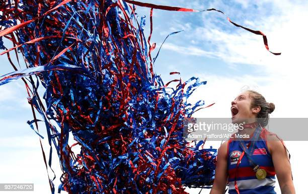Brooke Lochland and Ellie Blackburn of the Bulldogs celebrate during the 2018 AFLW Grand Final match between the Western Bulldogs and the Brisbane...