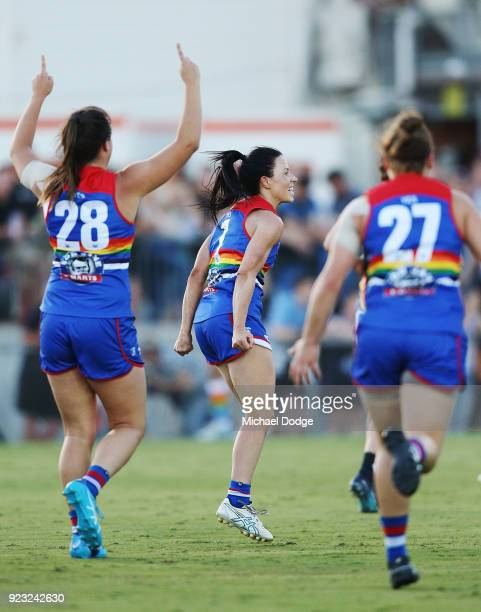 Brooke Lochland of the Bulldogs celebrates a goal during the round four AFLW match between the Western Bulldogs and the Carlton Blues at Whitten Oval...