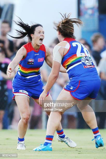 Brooke Lochland of the Bulldogs celebrates a goal with Boonie Toogood during the round four AFLW match between the Western Bulldogs and the Carlton...