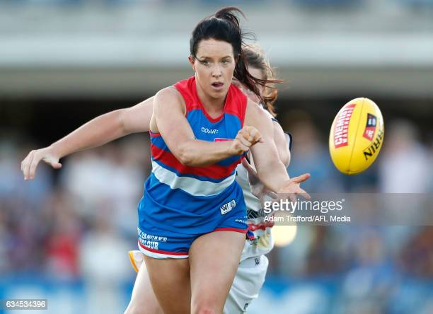 Brooke Lochland of the Bulldogs handpasses the ball during the 2017 AFLW Round 02 match between the Western Bulldogs and the Adelaide Crows at VU...