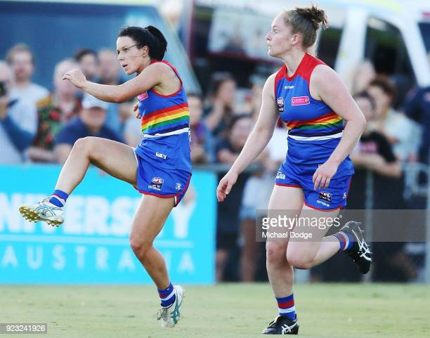 Brooke Lochland of the Bulldogs kicks the ball for a goal during the round four AFLW match between the Western Bulldogs and the Carlton Blues at...
