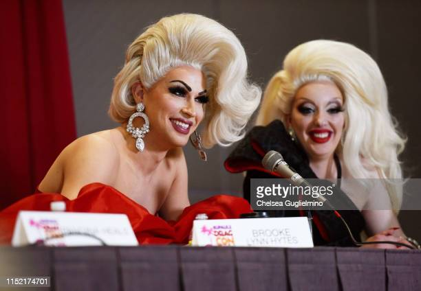 Brooke Lynn Hytes and Lady Hyde attend RuPaul's DragCon LA 2019 at Los Angeles Convention Center on May 25 2019 in Los Angeles California
