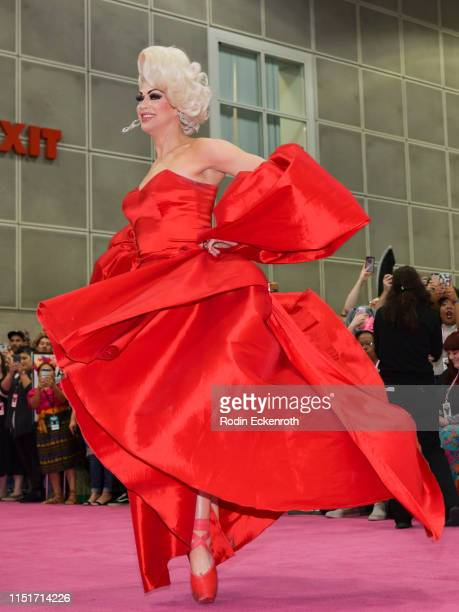 Brooke Lynn Hytes walks on pointe on the pink carpet at RuPaul's DragCon LA 2019 at Los Angeles Convention Center on May 25 2019 in Los Angeles...