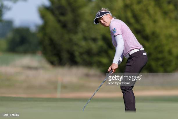 Brooke M Henderson of Canada hits an uphill putt on during the LPGA Volunteers of America Texas Classic on May 5 2018 at the Old American Golf Club...