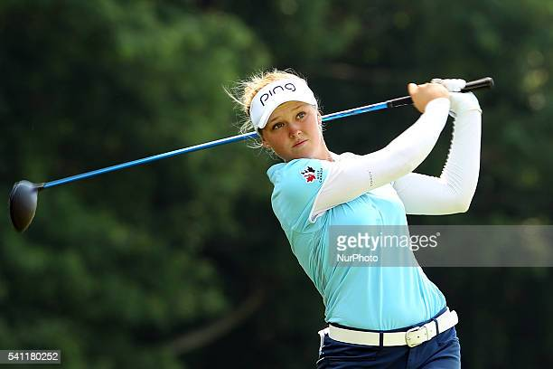 Brooke M Henderson of Canada hits from the fifth tee during the third round of the Meijer LPGA Classic golf tournament at Blythefield Country Club in...