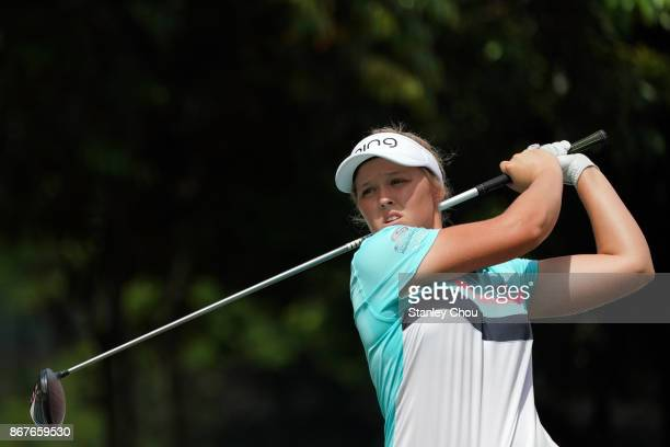 Brooke M Henderson of Canada in action during day four of the Sime Darby LPGA Malaysia at TPC Kuala Lumpur East Course on October 29 2017 in Kuala...
