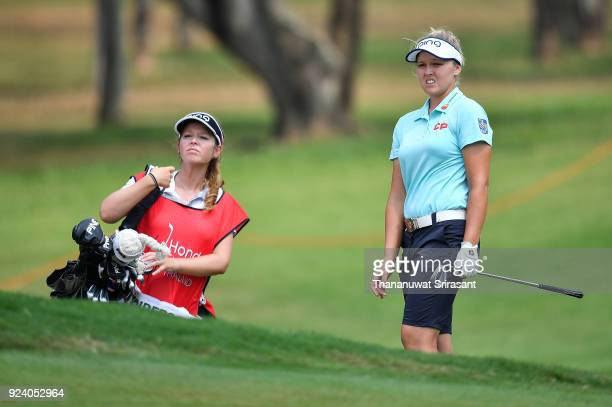 Brooke M Henderson of Canada looks on during the Honda LPGA Thailand at Siam Country Club on February 25 2018 in Chonburi Thailand