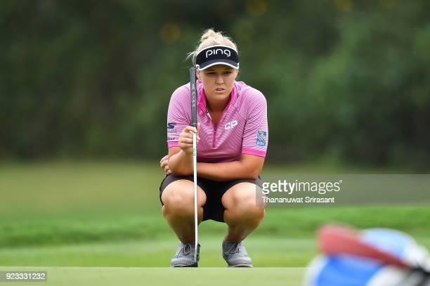 Brooke M Henderson of Canada looks on green during the Honda LPGA Thailand at Siam Country Club on February 23 2018 in Chonburi Thailand