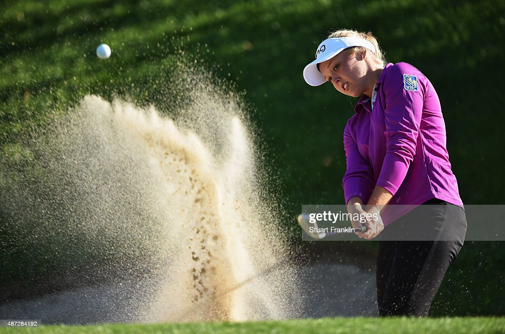 Brooke M Henderson of Canada plays a shot during practice prior to the start of the Evian Championship Golf on September 8, 2015 in Evian-les-Bains, France.