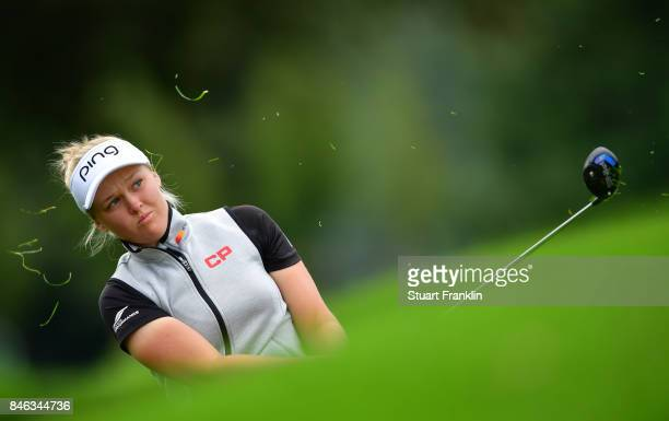 Brooke M Henderson of Canada plays a shot during the pro am prior to the start of The Evian Championship at Evian Resort Golf Club on September 13...