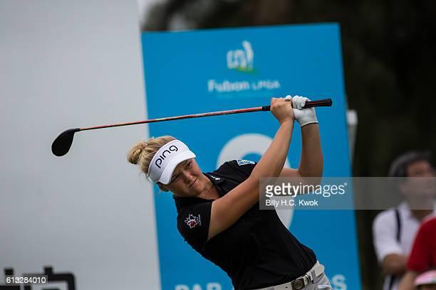 Brooke M Henderson of Canada plays a shot in the Fubon Taiwan LPGA Championship on October 8 2016 in Taipei Taiwan