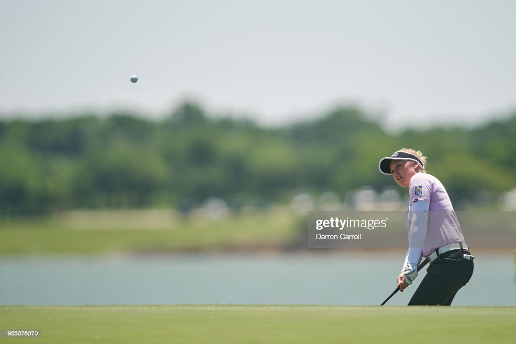 Brooke M. Henderson of Canada plays her second shot at the second hole during the continuation of the first round of the 2018 Volunteers of America LPGA Texas Classic at Old American Golf Club on May 5, 2018 in The Colony, Texas.
