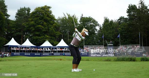 Brooke M Henderson of Canada plays her second shot on the 12th hole during Day One of the AIG Women's British Open at Woburn Golf Club on August 01...