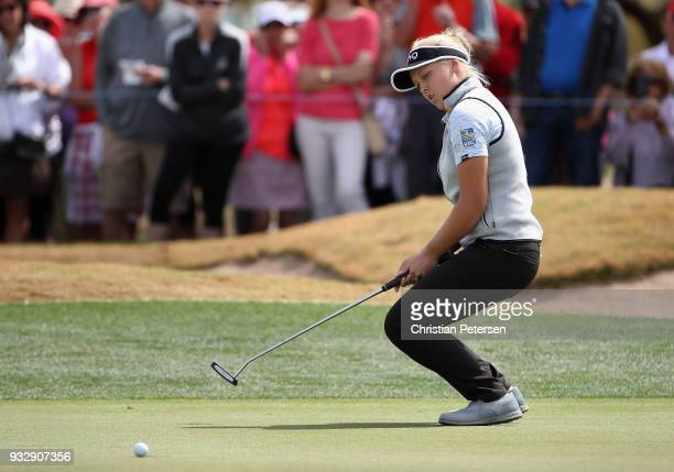 Brooke M Henderson of Canada reats to a missed putt on the ninth green during the second round of the Bank Of Hope Founders Cup at Wildfire Golf Club...