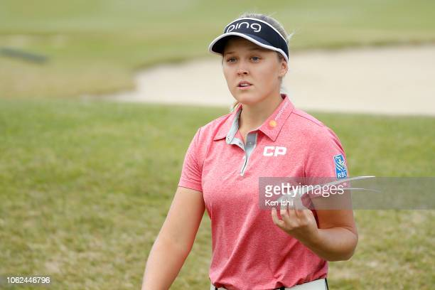 Brooke M Henderson of Canada walks off on the 18th green during the first round of the TOTO Japan Classic at Seta Golf Course on November 02 2018 in...