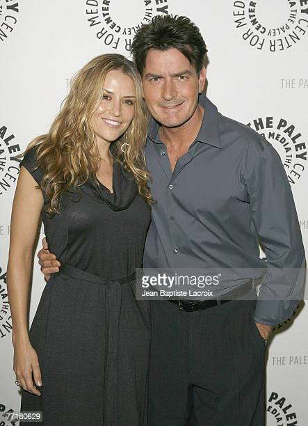 Brooke Mueller and Fiance Charlie Sheen attend the 100th Episode Celebration of 'Two And A Half Men' presented by and held at The Paley Center For...