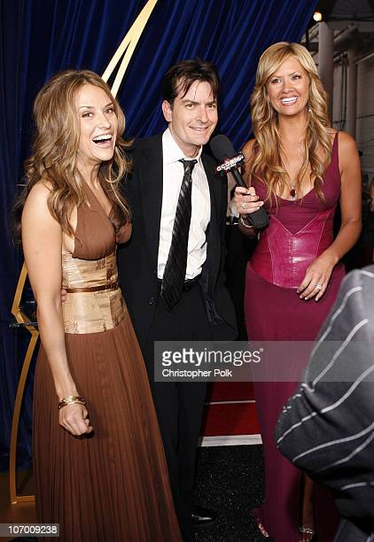 Brooke Mueller Charlie Sheen and Nancy O'Dell during 58th Annual Primetime Emmy Awards Backstage at The Shrine Auditorium in Los Angeles California...