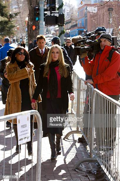 Brooke Mueller Sheen walks to a Court appearance on February 8, 2010 in Aspen, Colorado. Charlie Sheen also appeared in court to face allegations of...