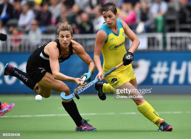 Brooke Neal of New Zealand and Kathryn Slattery of Australia during the FINTRO Women's Hockey World League SemiFinal Pool B game between New Zealand...