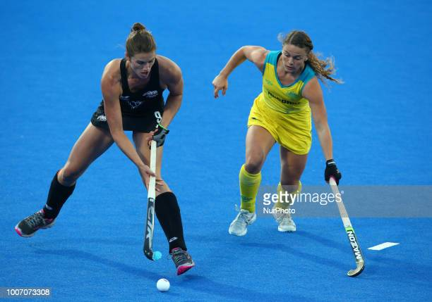 Brooke of New Zealand and MALONE Ambrosia of Australia during FIH Hockey Women's World Cup 2018 Day Seven match Pool D game 20 between Australia and...