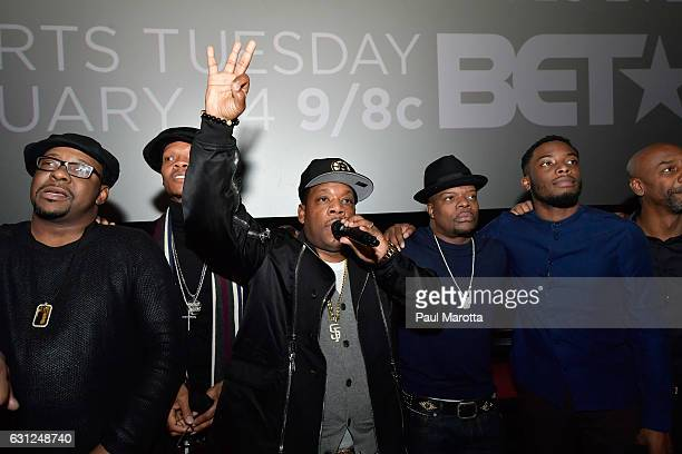 Brooke Payne Bobby Brown Rickie Bell Ronnie DeVoe and Michael Bivins attend BET's Boston screening of 'The New Edition Story' at AMC Boston Common on...
