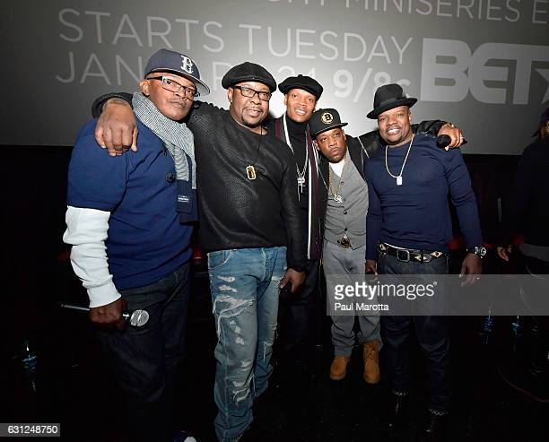 Brooke Payne Bobby Brown Ronnie DeVoe Rickie Bell and Michael Bivins attend BET's Boston screening of 'The New Edition Story' at AMC Boston Common on...