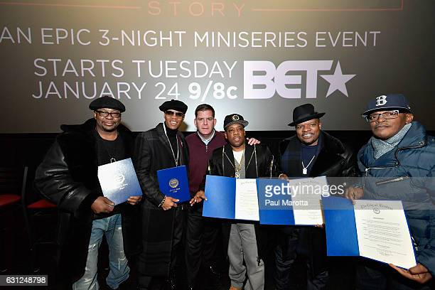 Brooke Payne Bobby Brown Ronnie DeVoe Rickie Bell Boston Mayor Marty Walsh and Michael Bivins attend BET's Boston screening of 'The New Edition...