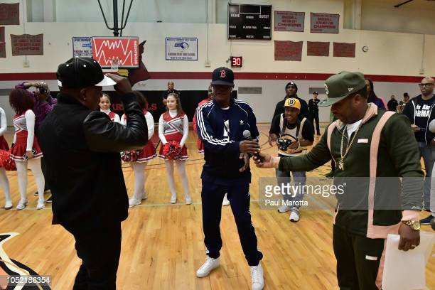 Brooke Payne Ricky Bell and Mike Bivins attend the 'PUMA Rep Your School Peace Basketball Jamboree' hosted by Mike Bivins Boston Public Schools Mayor...