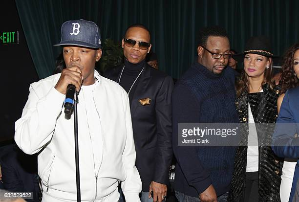 Brooke Payne Ronnie DeVoe and Bobby Brown celebrate New Edition's Star On The Hollywood Walk Of Fame at Warwick on January 23 2017 in Hollywood...