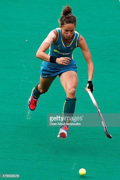 Brooke Peris of Australia in action during the Fintro Hockey World League SemiFinal match between Netherlands and Australia held at KHC Dragons...