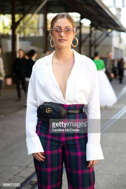 Brooke Portogallo wearing Viktoria and Woods top and Zara Pants during MercedesBenz Fashion Week Resort 19 Collections at Carriageworks on May 15...